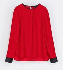ZARA crvena bluza s kožnim detaljima