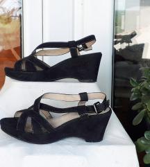 5thavenue platforma crne sandale PRAVA KOŽA