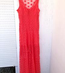 DESIGUAL duga crvena čipkana haljina