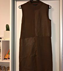 Stradivarius kombinirana kožna haljina , vel M