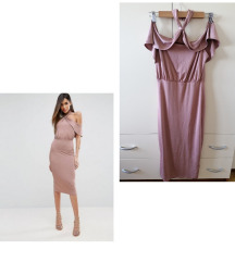 Asos puder roza midi haljina S