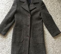 Smeđi vuneni kaput vel S 34/36