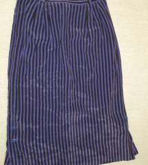 Vintage prugasta midi suknja 100% svila
