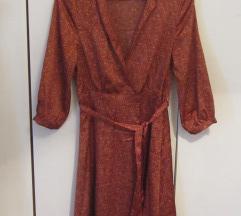 H&M satenska haljina boje hrđe 38