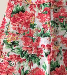 Kratke hlače visoki struk uzorak cvijeće