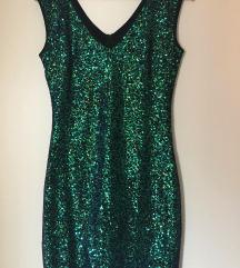 Zelena šljokičasta haljina