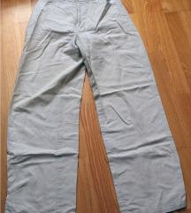 bež široke lanene hlače Esprit