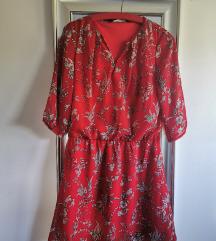 Jesenksa haljina crvena s uzorkom