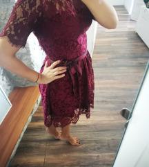 Bordo čipkasta haljina