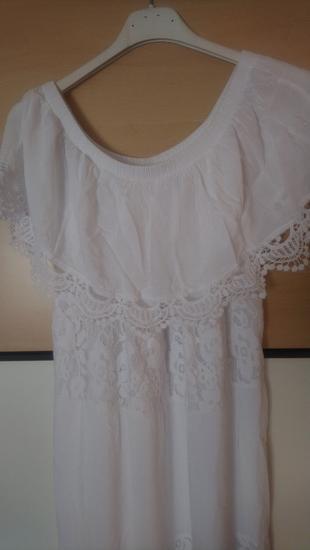 Bijela maxi haljina s volanom i čipkom