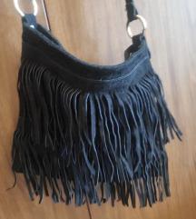 Crna brušena torba s resama