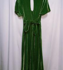 Zelena Velvet Haljina Zara 36/38 (S,M)