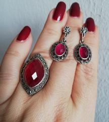 Prsten i naušnice, rubin i markizeti