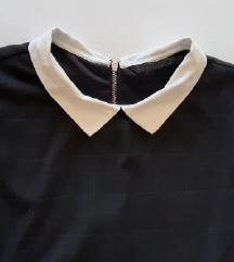 Zara crna haljina sa bijelom kragnom