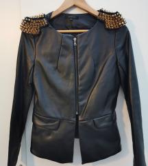 Kožna biker peplum jakna