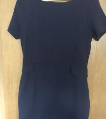 Plava peplum haljina s patentom