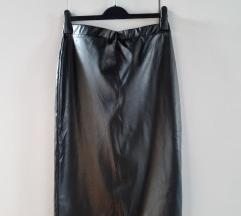 Midi kožna suknja