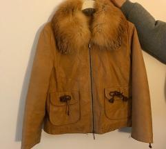 Kožna jakna s krznenom kragnom