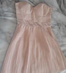 Puder roza svecana haljina plisirana