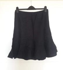 Crna lanena suknja na volane M