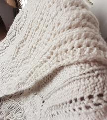 NOVI bijeli pleteni šal UNIKAT160X35cm