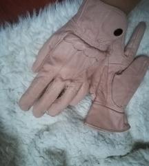 Roze kožne rukavice Vintage look 2+1 gratis