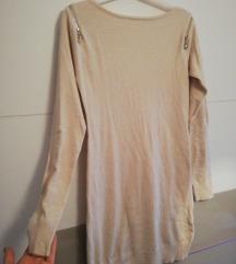 Bež pletena haljina