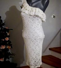 čipkasta haljina na jedno rame S