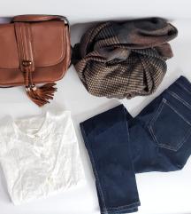 LOT - MANGO traperice i torbica, bijela košulja