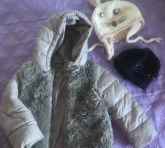 Benetton zimska jakna i Zara kapa, vel.2 god.