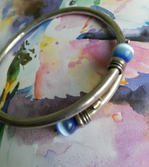 SADA 180! srebrna narukvica sa dvije cat eye perle