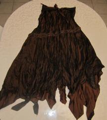 Lijepa, smeđa, duga svilenkasta suknja