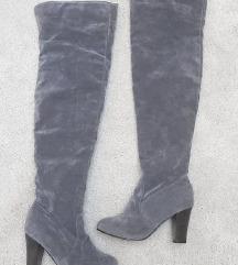 Sive visoke kožne čizme 39