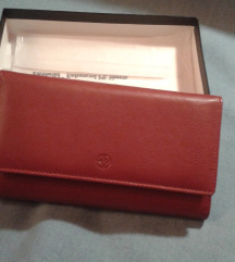 Crveni kožni novčanik
