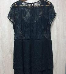 Mango crna čipkasta haljina