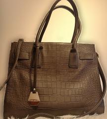 Smeđa kožna torba Diana&Co
