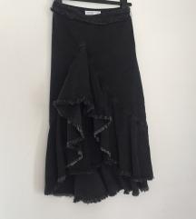 Zara siva traper midi suknja s volanima