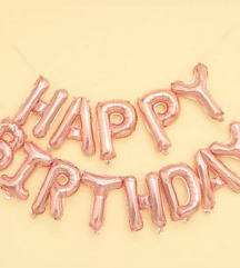 Sretan rođendan/Happy Birthday baloni - Rose Gold