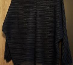 Tamnoplava rupičasta bluza sa topićem