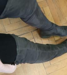Sive brusene cizme preko koljena