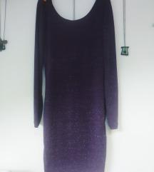 Svjetlucava ljubičasta haljina, otvorena leđa
