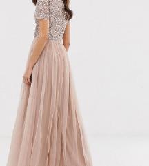 Svečana haljina XL Tall, UK 16  puder roza