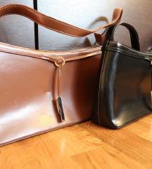 Smeđa i crna torbica