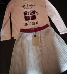 Zara nova suknja 130 majica H&M 122/128