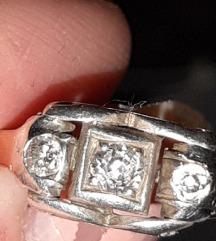 Prsten art deco zlato,dijamanti