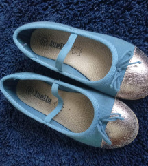 Zlatno-plave platnene balerinke