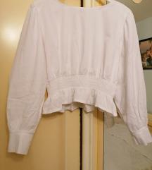 Bijela kraca bluza s puf rukavima, uni.