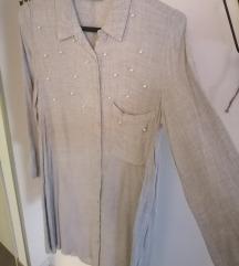 Siva haljina sa perlama