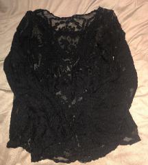 Crna čipkasta izvezena bluza top dugi rukav S XS