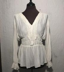 ZARA bijela strukirana bohemian bluza